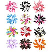 HipGirl Boutique 12pc Set 2.5 Grosgrain Ribbon Korker Hair Bow Clips - One Size. In Gift Box