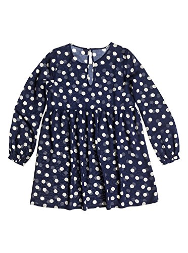 Roxy Juniors Sun Empire Woven Long Sleeve Dress, Peacoat Sierra Polka Dot Pattern, Small