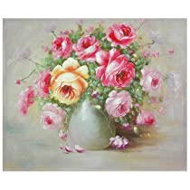 Oriental Furniture Inexpensive Fine Quality Canvas Wall Art, Hand Painted Peonies Boutonniere