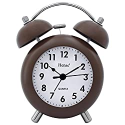 HENSE 4.5'' Retro Vintage Twin Bell Bedroom Table Alarm Clocks Silent Quartz Movement Non Ticking Sweep Second Bedside Desk Alarm Clock with Nightlight and Loud Alarm HA02 (Brown,Arabic Numerals)