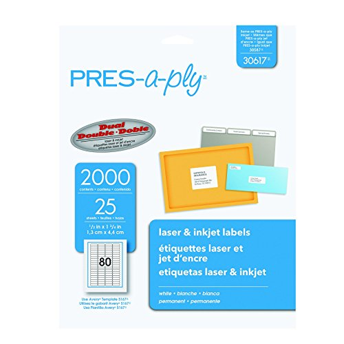 Pres a ply laser address labels 0 5 x inches white for Pres a ply templates