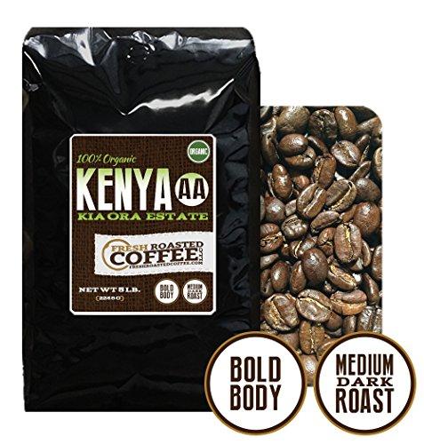 5 Lb. Bag, Kenya Aa Organic Kia-Ora Estate, Whole Bean Coffee, Fresh Roasted Coffee Llc.