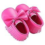 waylongplus Prewalker infantil suave soled borla Bowknots Cuna zapatos PU Moccasins rojo Purple Red Talla:13 (12-18 Months)