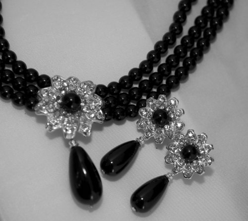 Black Pearl Three Strand Flower Necklace & Earring Set - Black Bridesmaid/Prom Jewelry