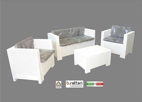 Colorado/Mobiliario de jardín muebles de Juego, resina, con cojín, color blanco, 4piezas)