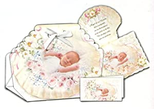 12 Baptism Bomboneiras, Ribbons, Party Favors, and Invitations with Envelopes - Baby Girl with Guardian Angel, in Spanish