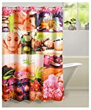 "Swayam Curtain Concept Printed Polyester Premium Shower Curtain - 72""x84"", Multicolor (CHW-5603 Pink Spa)"