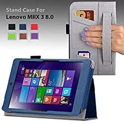 For Lenovo Miix 3 8 Windows Tablet 7.85-inch Premium QUALITY PU LEATHER FOLIO PROTECTIVE SMART CASE, COVER, STAND with MICROFIBER INNER, STYLUS SLOT, Hand Strap and Credit Cards / ID Holders! Dark BLUE.