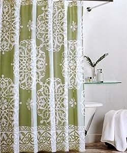 tahari fabric cloth shower curtain cream off white scroll medallions on avocado. Black Bedroom Furniture Sets. Home Design Ideas