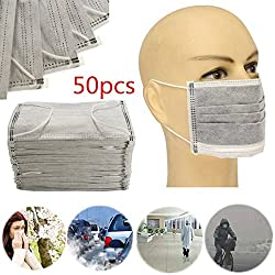 50Pcs Multi Layer Dust-proof Activated Carbon Face Mouth Mask Industry Surgical (Color: Random)