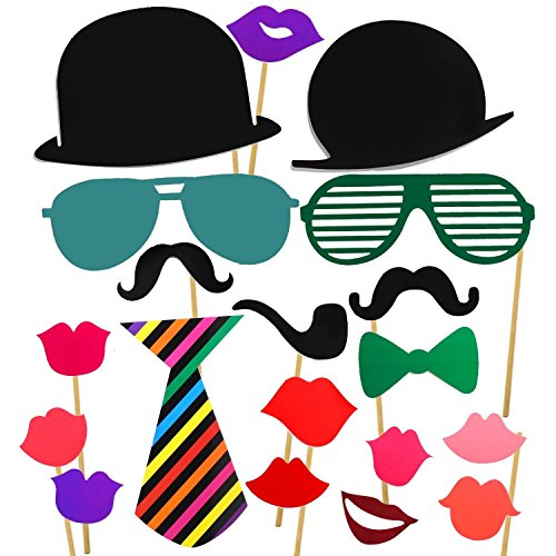 [Healthcom Photo Booth Props - 62 Pieces DIY Prop Kit For Fun Wedding Birthday Decorations Parties,Photography,Selfie On Graduation,Special Events Party Favors,Reunions,Durable Paper Classic] (Fake Mustache Kit)