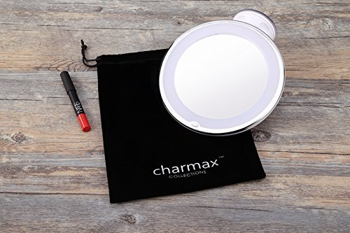 charmax 10x magnifying lighted makeup mirror with bag natural led light bath. Black Bedroom Furniture Sets. Home Design Ideas