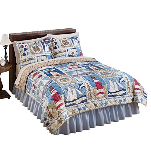 Newport Reversible Nautical Quilt, Multi, Full/Queen (Lighthouse Quilt compare prices)
