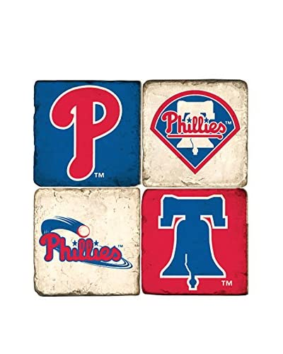 Studio Vertu Set of 4 Phillies Logoed Tumbled Marble Coasters with Stand