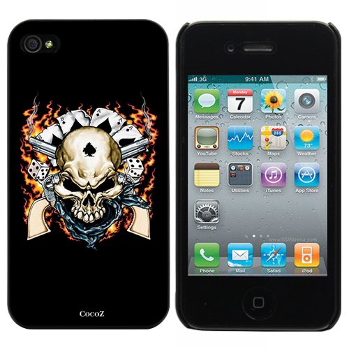 New Releases Skull Black Background Fashion Design Hard Case Cover Skin Protector for Iphone 4 4s Iphone4 At&t Sprint Verizon Retail Packing (Black Pc+pearlescent Aluminum)-j006