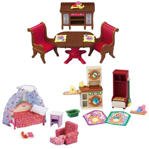 Fisher-Price Loving Family Dollhouse Dining Room, Kids Room, and Laundry Room Décor Bundle