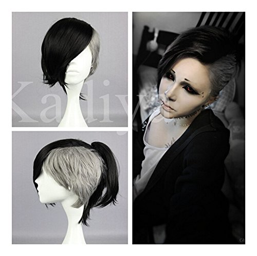 Kadiya Black Grey Anime Tokyo Ghoul Uta Short High Quality Syntehtic Cosplay Wig
