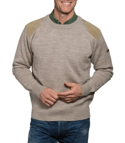 Mens Huntsman Crew Neck Lambswool Jumper Oatmeal Extra Large