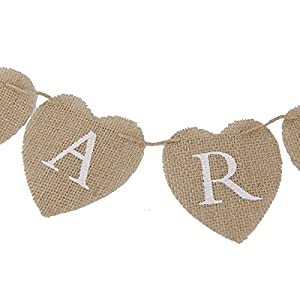 Pixnor CARDS Heart Shape Hessian Bunting Banner Rustic Party Decoration from Pixnor