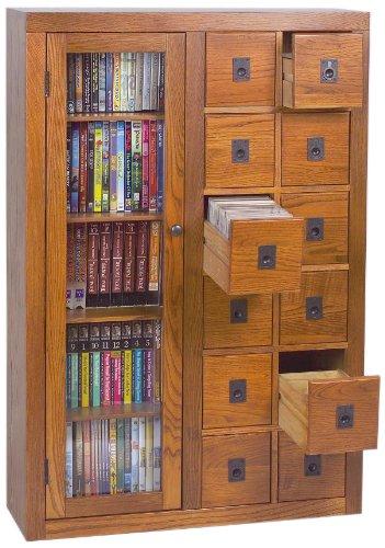 Leslie Dame GL06-0518 Glass Door Solid Oak Multimedia Storage Cabinet, Oak (Multimedia Storage Cabinet compare prices)