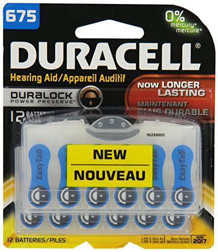 Duracell Easy Tab Hearing Aid Size 675 Batteries 12 Count