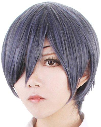 Black Butler Aicos, colore: grigio/blu scuro-Parrucca corta Ciel Phantomhive Anime Cosplay Wig