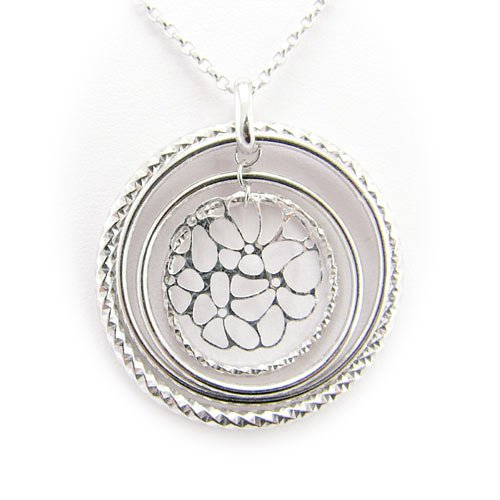 Rhodium Plated Sterling Silver Concentric Rings Laser Cut Flower Cable Chain Necklace Italy