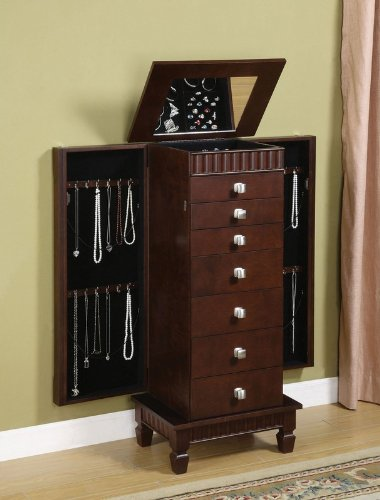 Jewelry Armoire with Fluted Top and Skirt in Merlot Finish