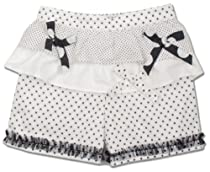 Beetlejuice London White & Black Polka Dot Ruffle Yoke Girls Shorts With Bow Tie Detail & Tulle Rouching At Hem-7