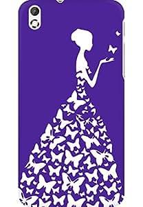 AMEZ designer printed 3d premium high quality back case cover for HTC Desire 816 (dark purple white girl princess)