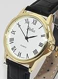 Gents Roman Numerals Black Croc Effect Strap Watch