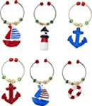 LSArts Wine Charms, Nautical, Set of 6