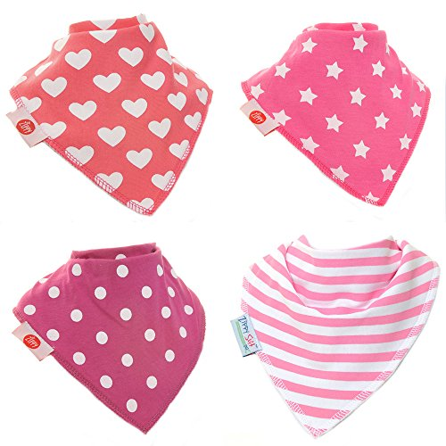 Zippy Fun Baby and Toddler Bandana Bib - Absorbent 100% Cotton Front Drool Bibs with Adjustable Snaps (4 Pack Gift Set) Girls Dandy Patterns