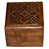 Handmade Jewellery Box Square Shape Wood Carving With Abstract Brass Inlay Design - B00HAKS3FM