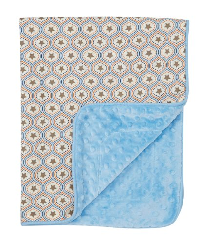 Baby Boy Blanket in Western Stars on Blue Dimple Dot Minky - Great Travel Blanket