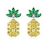 Tmrow 1pair Creative Design Woman Trim Pineapple Puncture Tropical Yellow Zircon Earrings,Gold