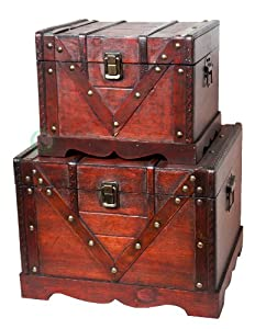 Quickway Imports Old Style Treasure Chest/Box, Set of 2