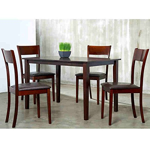 Modern Tiffany Furniture Collection IDA Bi-cast Metal, Leather and Wood Manufactured Dark Brown in Espresso Finished 5-piece Dining Furniture Set