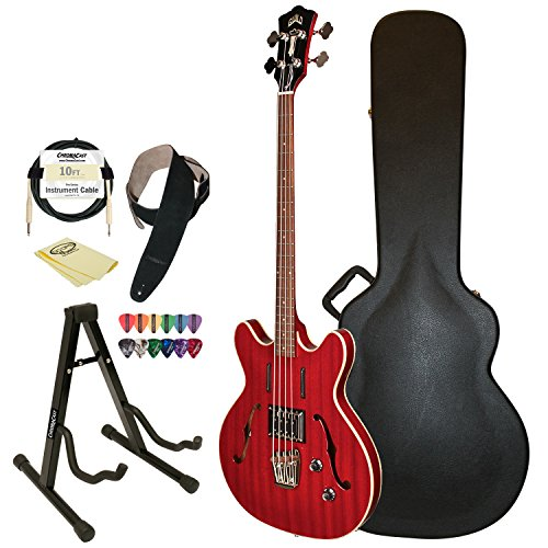 Guild Cherry Red Starfire Semi-Hollow Electric Bass Guitar Guild Hard Case, Cable, Strap, Picks, Stand And Polish Cloth