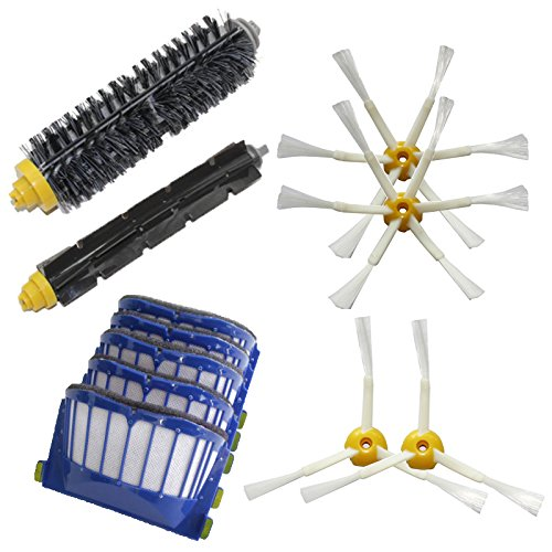 Shp-Zone 5 Aero Vac Filters & 2 X 3-Armed + 2 X 6-Armed Side Brushes & Bristle Brush & Flexible Beater Brush Pack Replenishment Mega Kit For Irobot Roomba 600 Series (620 630 650 660 680) Vacuum Cleaning Robots front-562496