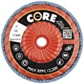"CoreTemp 77560 Type 29 Regular Density Abrasive Flap Disc with Plastic Turbo Backing, Threaded Hub, Zirconium, 5"" Diameter, 5/8""-11 Arbor, 60 Grit  (Pack of 5)"
