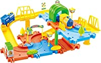 Saffire Classic Toy Train Set 15 with Upper and Lower Level, Bridges and Tunnel