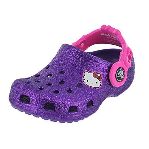 crocs Hello Kitty Glitter NA Clog (Toddler/Little Kid),Neon Purple,4 M US Toddler