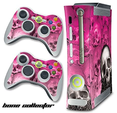 XBOX 360 Console Pink Skulls Design Decal Skin - System & Remote Controllers - BoneCollector - Pink