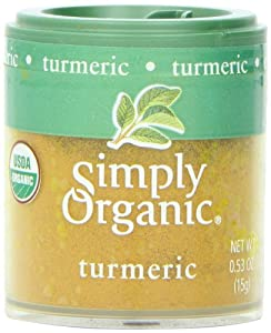 Simply Organic Turmeric Root Ground Certified Organic, 0.53-Ounce Containers (Pack of 6)