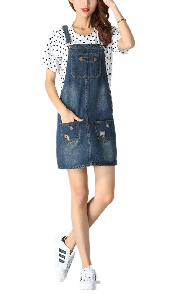 Skirt BL Women's Blue Vintage High Waist Suspender Denim Overall Mini Jean Dres 0