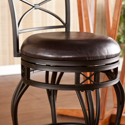 SEI Ridgeway Swivel Counter Stool, Brown