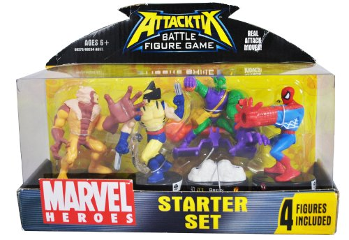 Buy Low Price Hasbro Attacktix Year 2006 Battle Figure Game 4 Pack Marvel Heroes Starter Set – Sabretooth, Wolverine, Green Goblin and Spider-Man (B004C78YO6)
