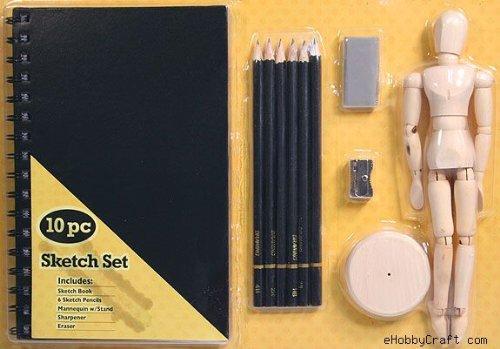 10 Pc Sketch SET w/ Pencils, Sketch Book, Mannequin Etc