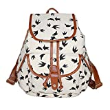 F.Dorla? Fashionable Canvas Backpack School Bag Super Cute Stripe School College Laptop Hiking Bag for Students (Y-white)